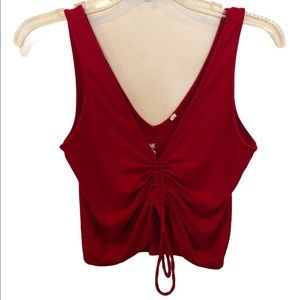 PacSun Me to We red cropped double V tank top